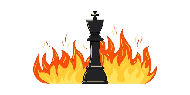 Chess piece king on burning fire vector icon isolated on white background.