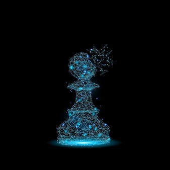 Chess piece pawn consisting of points, lines and luminous forms.