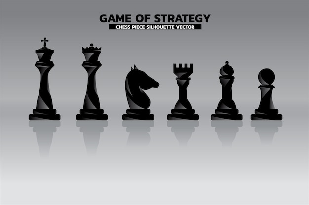 Chess piece silhouette. icon for business planning and strategy thinking