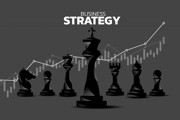 Chess piece silhouette with revenue growth graph background.