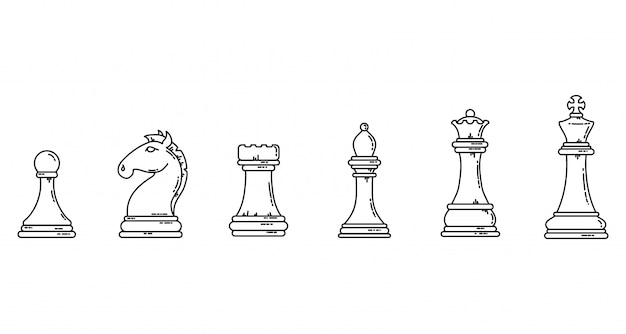 Chess pieces black outline flat silhouettes. game concept lineart stock   image set.