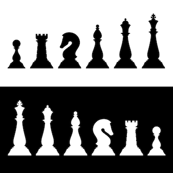 Chess pieces black silhouettes set. business strategy vector icons
