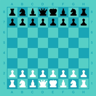 Chess pieces on the board readymade complete set for the game mobile application