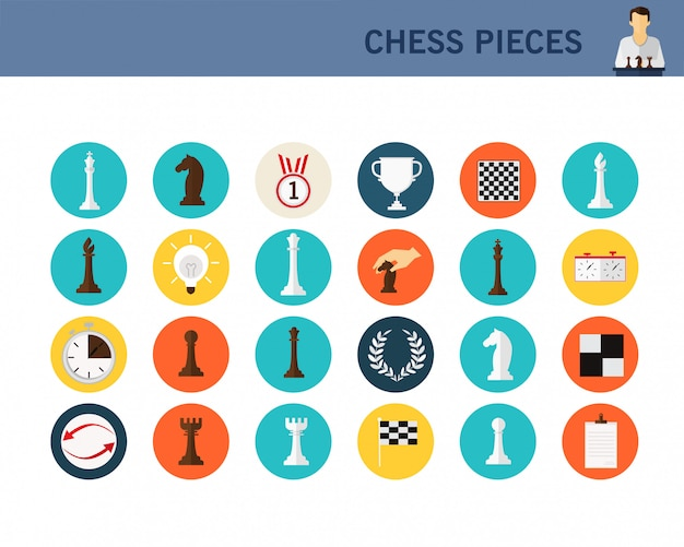 Chess pieces concept flat icons.