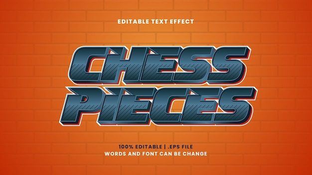 Chess pieces editable text effect in modern 3d style