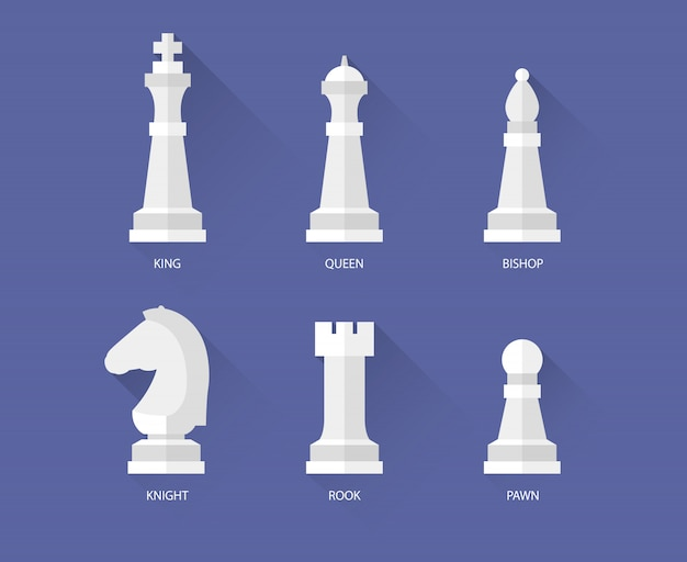 Chess pieces flat icons
