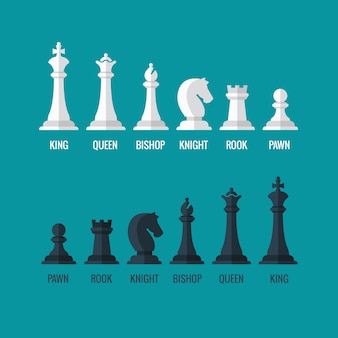 Chess pieces king queen bishop knight rook pawn flat  icons set