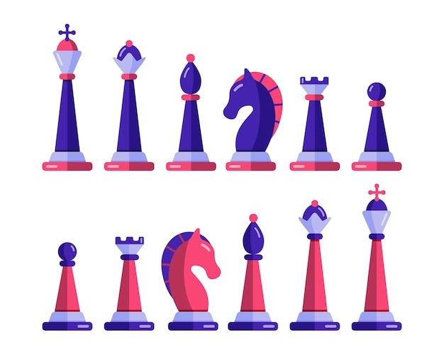 Chess pieces  set. checkmate and win strategy in tournament.