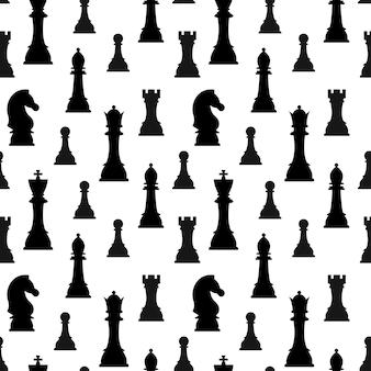 チェスの駒のシルエットは、白い背景で隔離のシームレスなパターンをベクトルします。