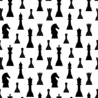 Chess pieces silhouette vector seamless pattern isolated on white background.