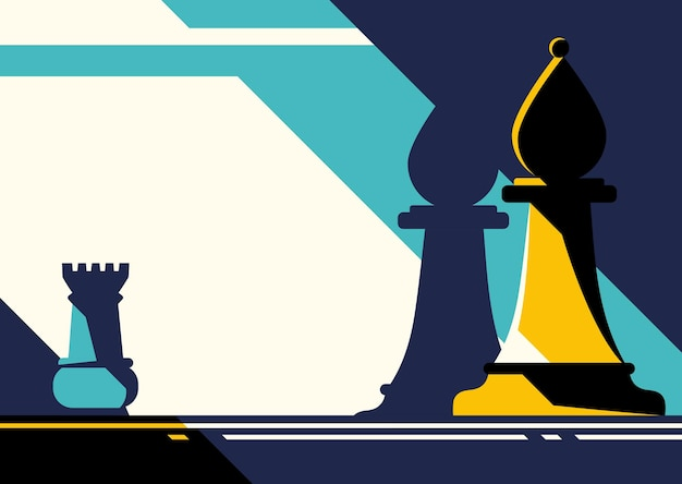 체스 말. 평면 디자인의 전략 개념.