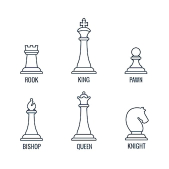 Chess pieces thin line icons king queen bishop rook knight pawn