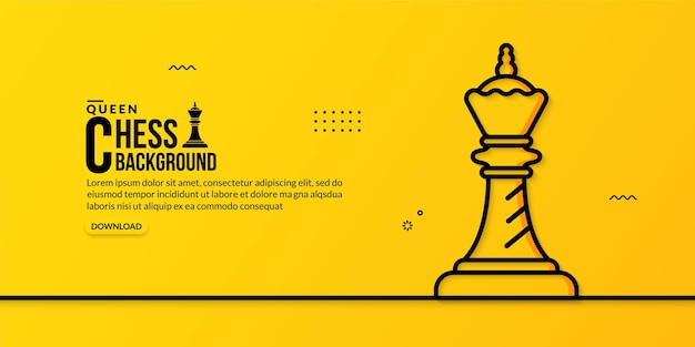 Chess queen linear illustration on yellow