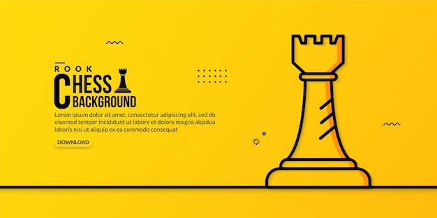 Шахматная ладья линейная иллюстрация на желтом