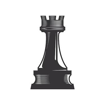 Chess rook vector line art illustration.