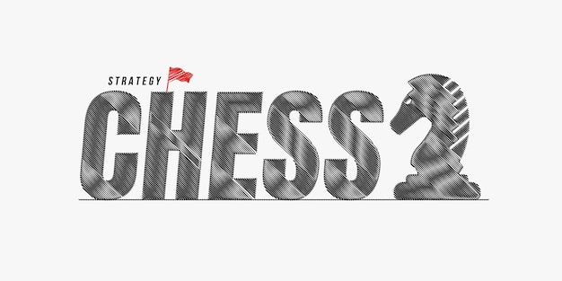 Chess scribble text design background, chess lettering typography, board game competition concept