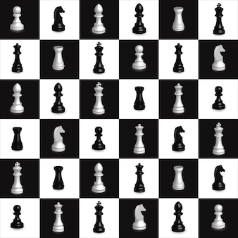 Chess seamless pattern chess 3d black and white geometric decoration element vector
