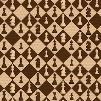 Chess seamless pattern with figures on rhombus background