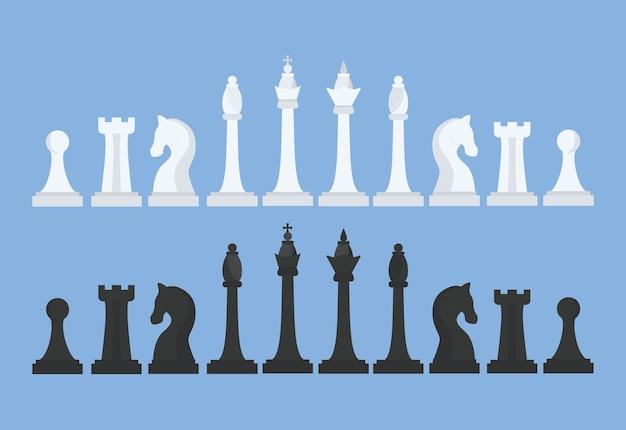 Шахматный набор. король, ферзь, слон, конь, ладья и пешка. черно-белые шахматные фигуры. иллюстрация