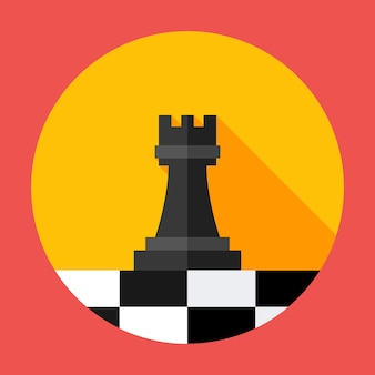 Chess strategy flat circle icon. vector illustration