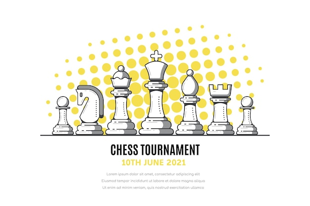 Chess tournament banner with chess figures on white Premium Vector