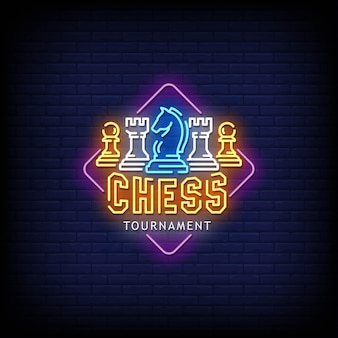 Chess tournament neon sign style text