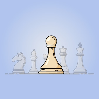 Chess vector flat icon. pawn in front