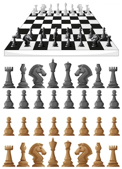 Chessboard and different chess pieces illustration