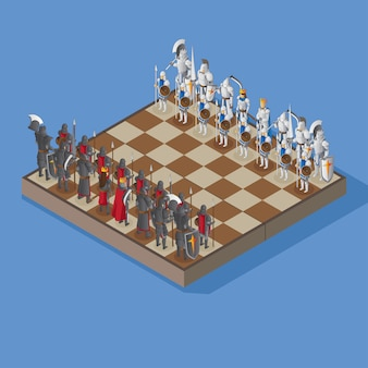 Chessboard with armored human figures in isometric view