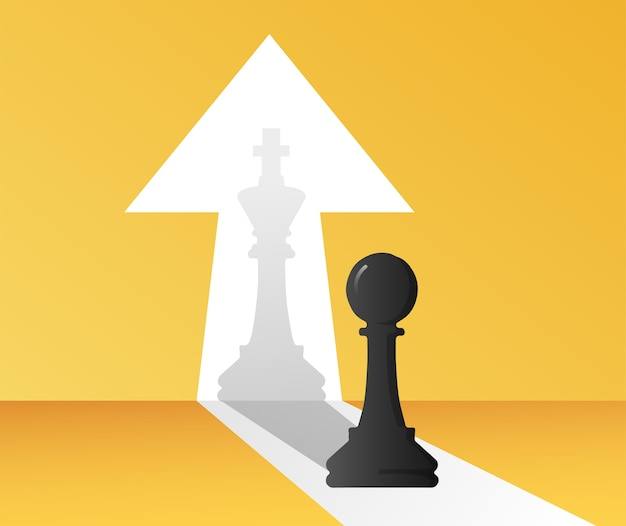 Chessman is changed to the shadow of the chess king symbol illustration