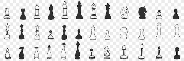 Шахматные фигуры на доске каракули набор иллюстрации