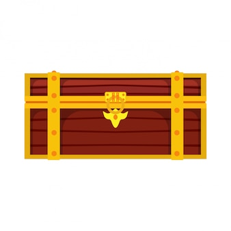 Chest box treasure. gold wealth wooden lock brown pirate money. trunk game cartoon fortune