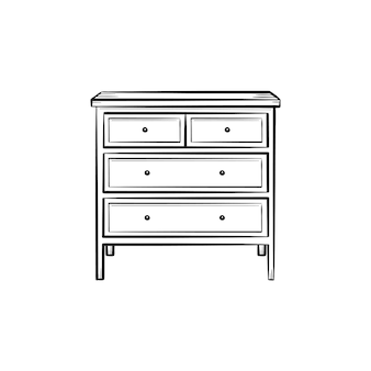 Chest of drawer hand drawn outline doodle icon. chest of drawer with shelves for clothing vector sketch illustration for print, web, mobile and infographics isolated on white background.