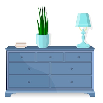 Chest of drawers, bedside table. vector. furniture