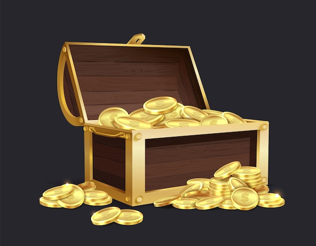 Chest of gold coin. large closed and open vintage wooden trunk full of golden coins, medieval mystery pirate treasures illustration for game cartoon vector isolated set