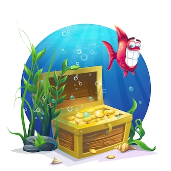 Chest of gold and fish in the sand underwater - vector illustration