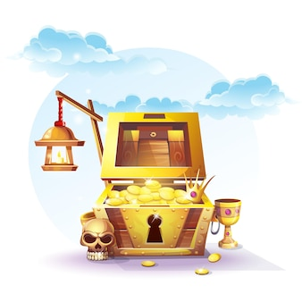 Chest of gold and a lantern in the sand under the blue clouds - vector illustration