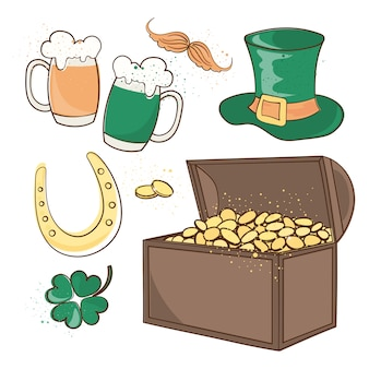 Chest of gold saint patrick's day vector illustration set