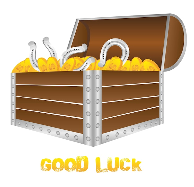 Chest for good luck with shoes and gold coins