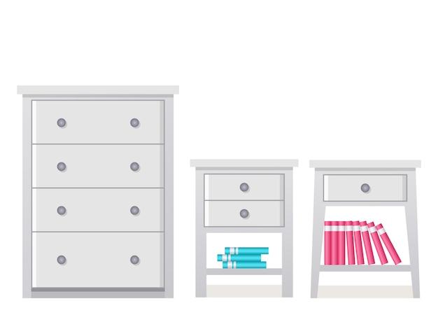 서랍장, 침대 옆 탁자. . 플랫에서 가구 아이콘입니다. 침실 및 거실 절연 만화 집 장비 옷장, 화장실, 국.