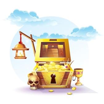 Сундук с золотом и фонарь на песке под голубыми облаками - векторные иллюстрации