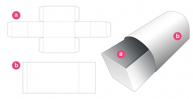 Chest shaped box and cover die cut template
