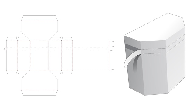 Chest shaped box with zipping die cut template