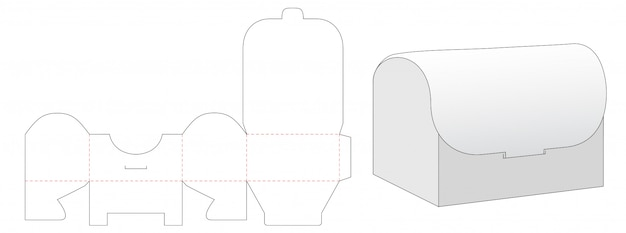 Chest shaped packaging box die cut template design
