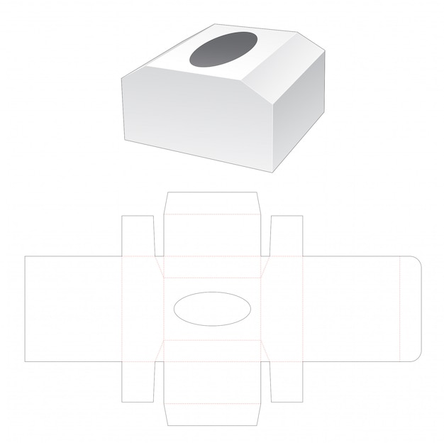 Chest shaped tissue box die cut template