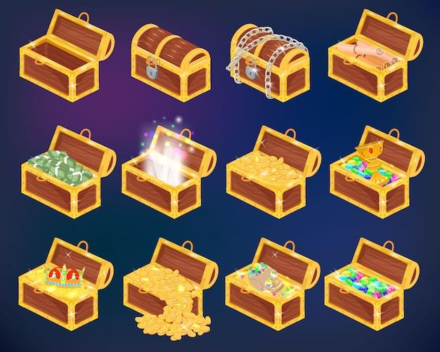 金のお金の富の胸の宝箱または黄金のコインと古代の宝石のイラスト等尺性の木製の海賊の胸の背景に分離された宝箱の等尺性セット