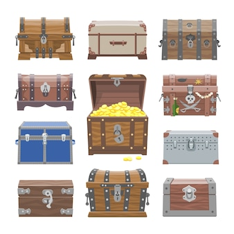 Chest  treasure box with gold money wealth or wooden pirate chests with golden coins illustration set of closed wooden container