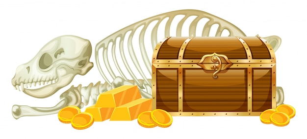 Chest treasure and skeleton on white background