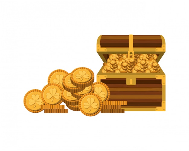 Chest with coins isolated icon