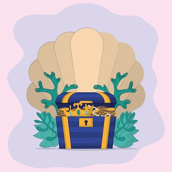 Chest with shell and seaweed cartoons vector illustration graphic design